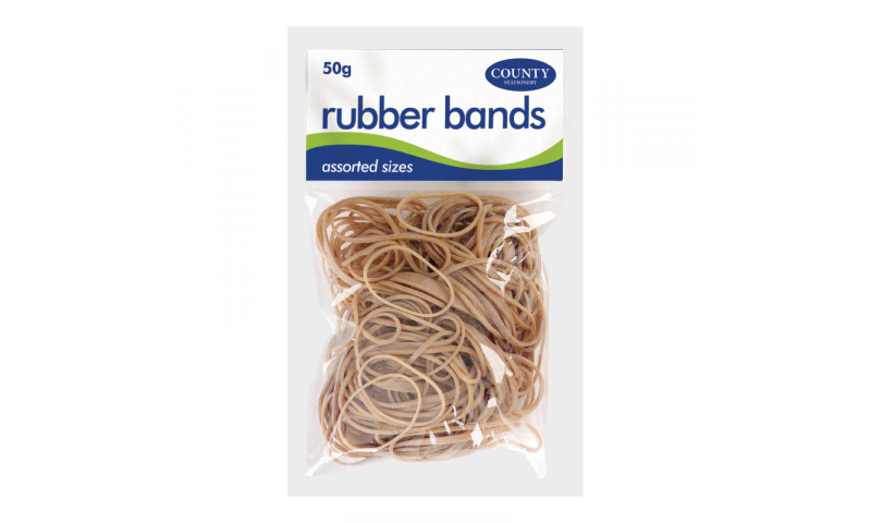 County Stationery 50g Bag Natural Rubber Bands Asstd (New Lower Price for 2021)