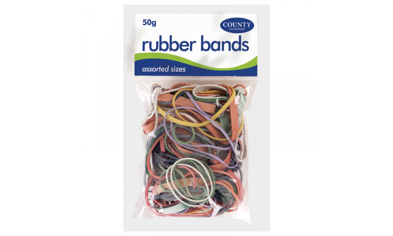 County Stationery 50g Bag Coloured Rubber Bands Asstd (New Lower Price for 2021)