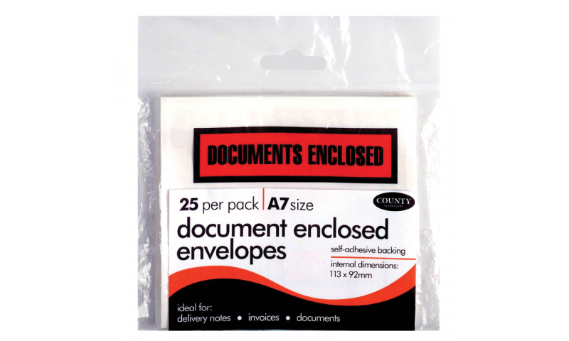 County Stationery A7 Document Enclosed Envelopes 25pk (New Lower Price for 2021)