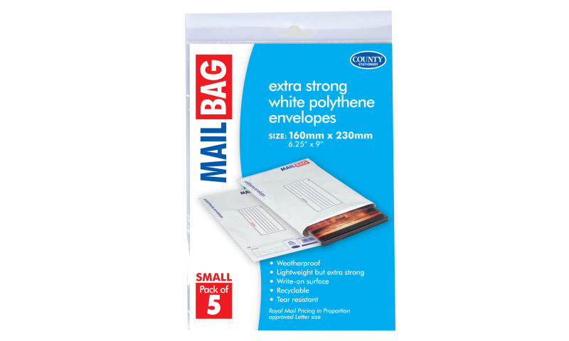 County Stationery Polythene Mail Bags Small Pack 5, 160 x 230mm (New Lower Price for 2021)