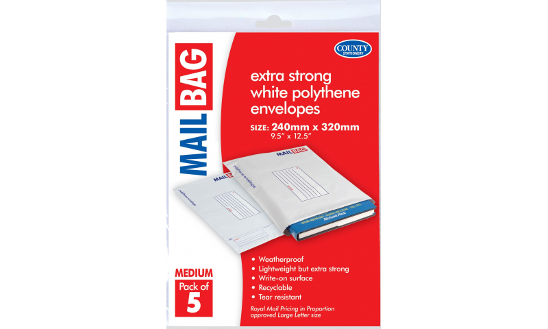 County Stationery Polythene Mail Bags Medium Pack 5, 340 x 320mm (New Lower Price for 2021)