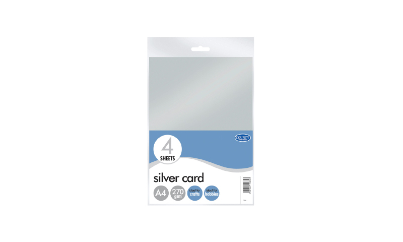 County Stationery Silver A4 Card, 4 Sheet Pack (New Lower Price for 2021)