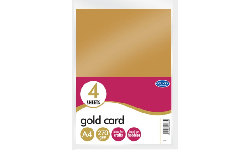 County Stationery Gold A4 Card, 4 Sheet Pack (New Lower Price for 2021)