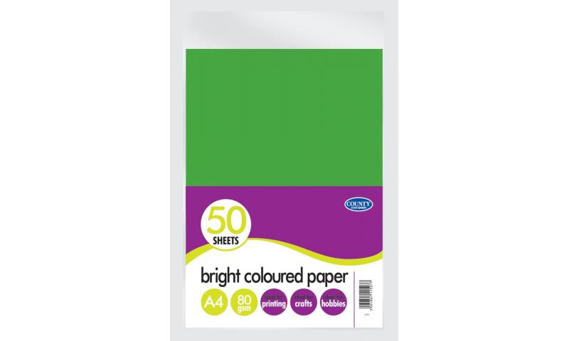 County A4 Bright Coloured 80g Paper 50 Sheet Pack, 5 Asstd