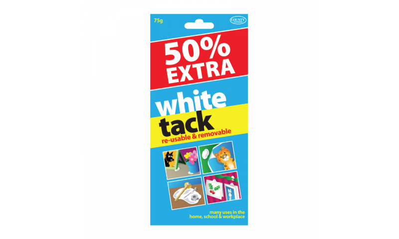 County Stationery White Tack 50% Extra, 75g (New Lower Price for 2021)