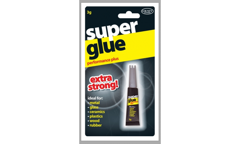 County 3g Super Glue Extra Strong Adhesive Carded (New Lower Price for 2021)