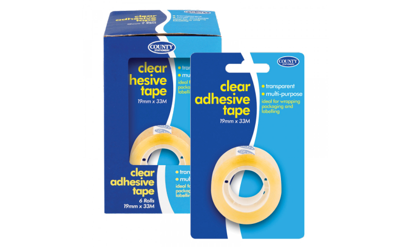 County Stationery Small Clear Adhesive 19mm x 33m Pk 12
