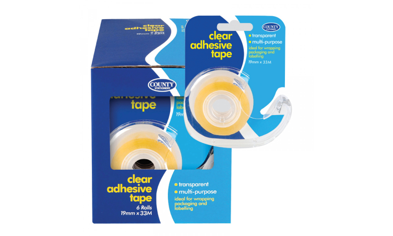 County Stationery Small Clear Adhesive w/ Dispenser 19mm x 33m Pk 12  (New Lower Price for 2021)