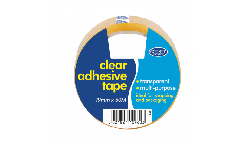 County Stationery Large Clear Adhesive 19mm x 50m Pk 12 (New Lower Price for 2021)