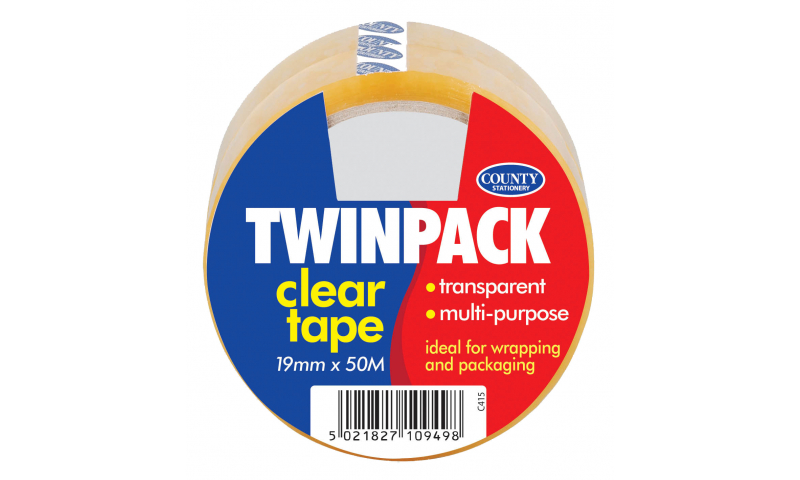 County Clear Adhesive Tape 19mm x 50m, Hangpack of 2 Rolls (New Lower Price for 2021)