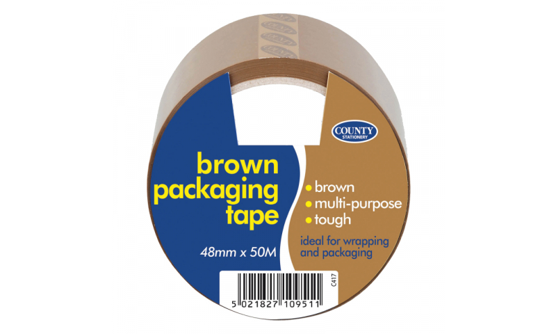 County Stationery Brown Packing Tape 48mm x 50m Pk 6.