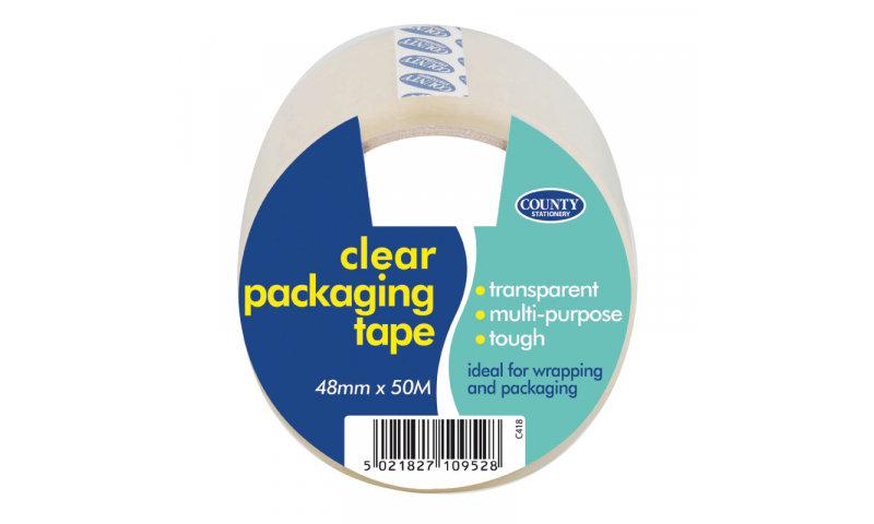 """County Stationery Clear 2"""" Packing Tape 48mm x 50m (New Lower Price for 2021)"""