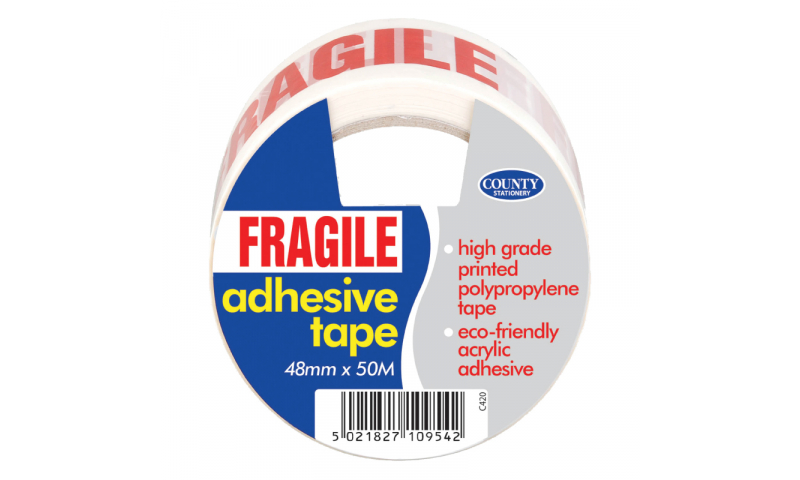 County Stationery Fragile Tape 48mm x 50m Pk 6 (New Lower Price for 2021)