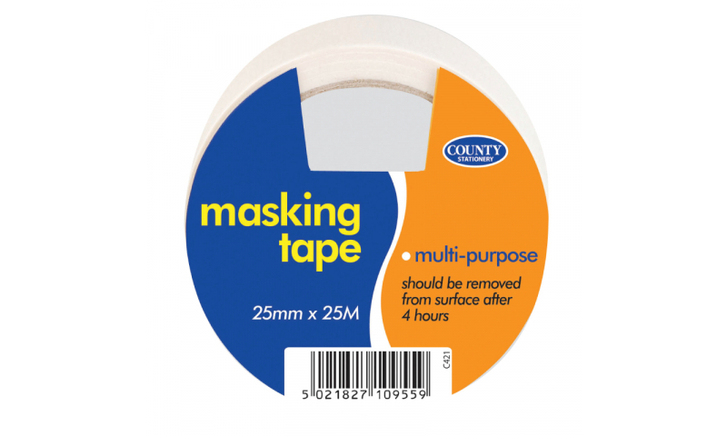 County Stationery Masking Tape 25mm x 25m Pk 12 (New Lower Price for 2021)