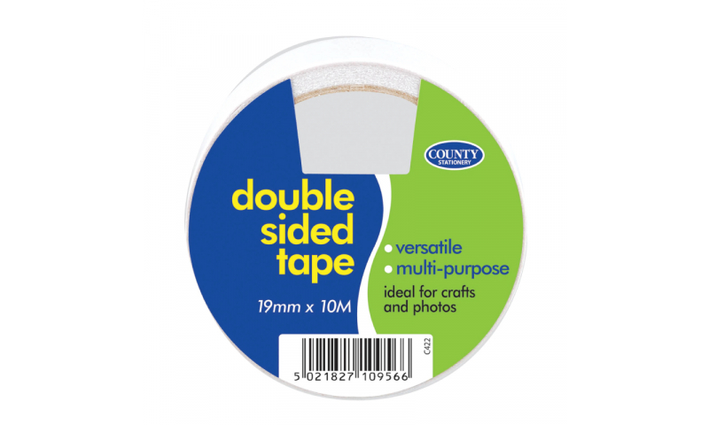 County Stationery Double Sided Tape 19mm x 10m Pk 12 (New Lower Price for 2021)