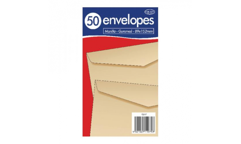 Just Stationery 89x125mm Manilla Gummed Envelopes - Pack 50 (New Lower Price for 2021)