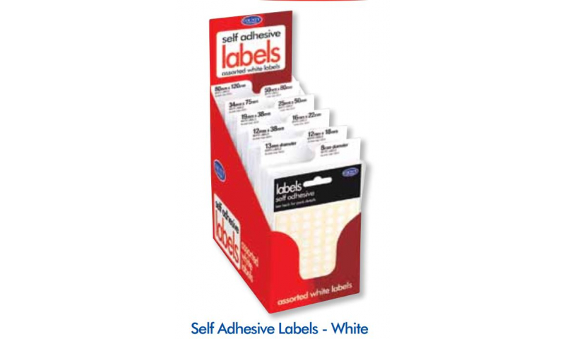 County Small Pack Adhesive Labels Display of 100 White Assorted Sizes