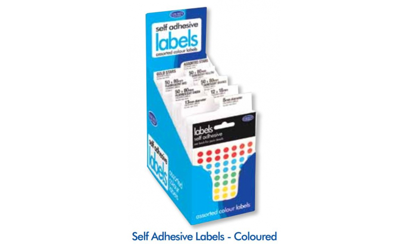 County Small Pack Adhesive Labels Display of 90 Coloured Assorted Sizes
