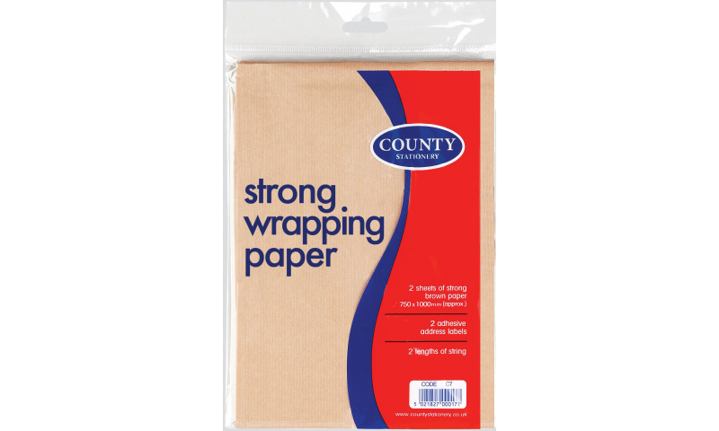 County Brown Paper Folded, Labels & String 1m x 75cm, 2 Sheets (New Lower Price for 2021)