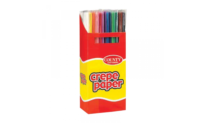 County Crepe Paper Rolls 1.5m x 50cm, in floor display Asstd (New Lower price for 2021)