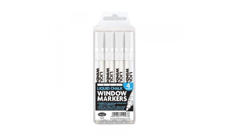 County Liquid Chalk Markers 4pk White (Super for Xmas Windows)