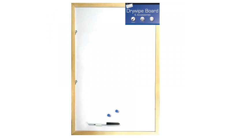 Just Stationery Wood Frame Magnetic Drywipe Board & Acess, 400x600mm