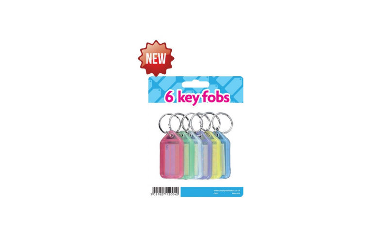 County Coloured Keyfobs with Writing Panel, Card of 6 asstd