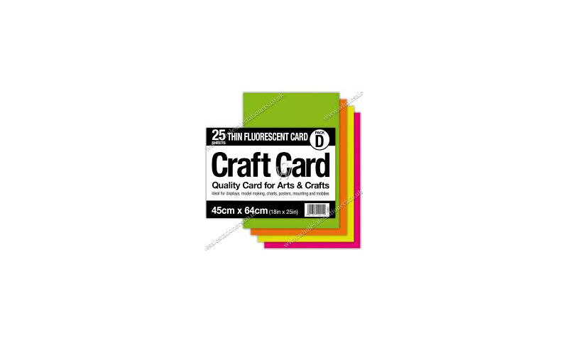 County Large Sheets of Craft Card 48cm x 64cm, 25 Sheets of 5 Florescent Colours