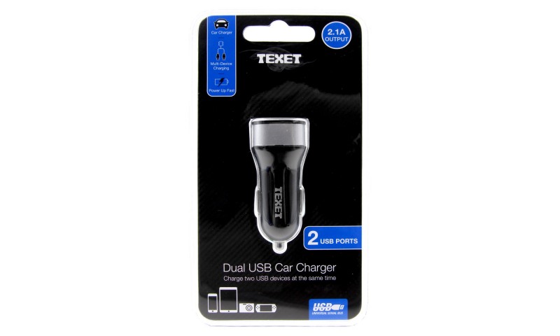 Texet Car USB 2 Outlet Socket (New Larger Style)