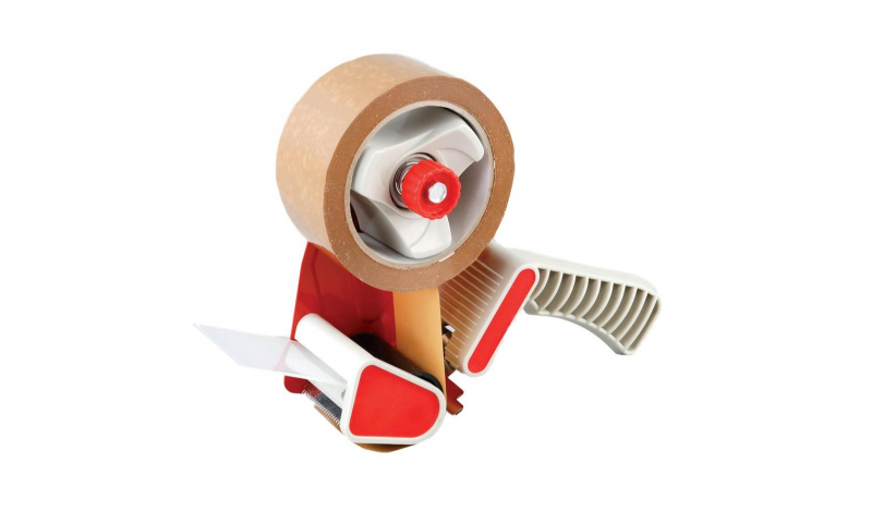 """County Carton Sealing Tape Dispenser with Brake, 48mm, 2"""" Size & FREE Roll of Tape (New Lower Price for 2021)"""