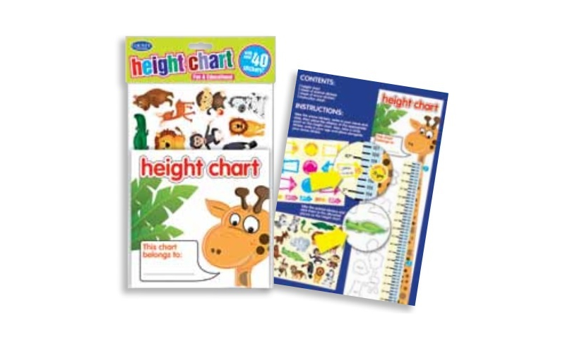 Kids Height Chart with Large selection of Stickers (New Lower Price for 2021)