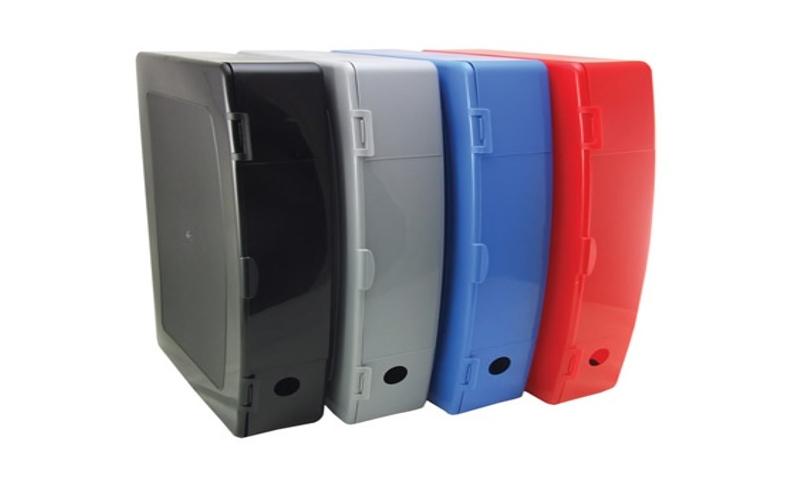 Deflecto Plastic Foolscap Box File, Clip Close Lid, Red