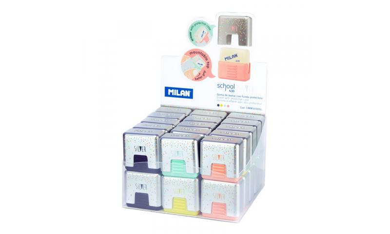 Milan School 430 Eraser in holder, Silver Dots Design