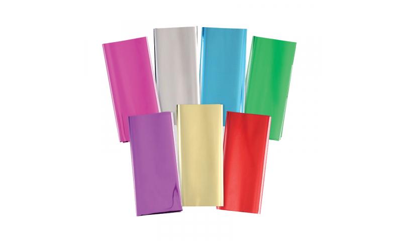 Xmas Metallic Gift Wrap 50x70cm Folded Hangpack, 5 Asstd
