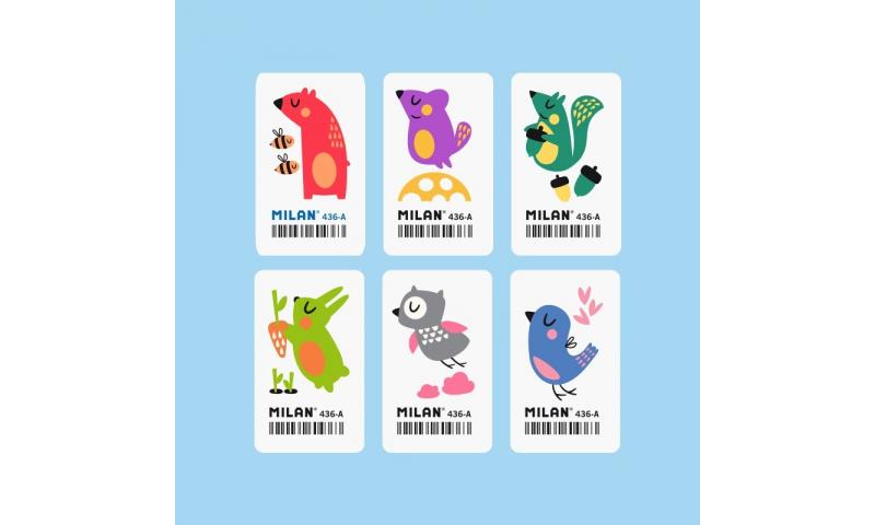 Milan Pencil erasers, children's designs, 6 asstd. (New Design)