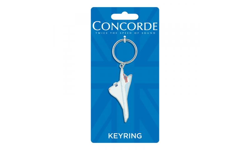 Concorde Shaped  Metal Enamel Keyring