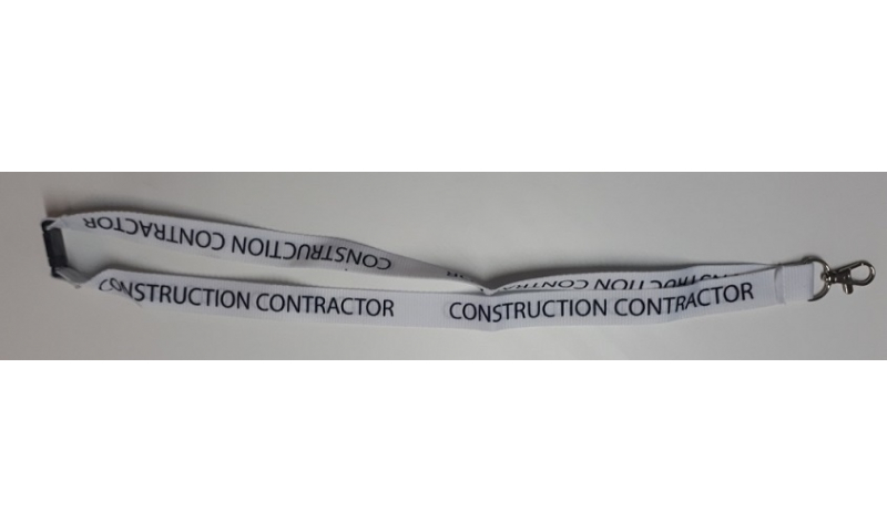 CONSTRUCTION WORKER Woven Polyester White 20mm Lanyard, Neck Break & Metal Swivel Hook