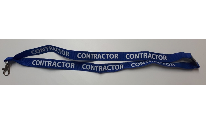 CONTACTOR Woven Polyester Blue 20mm Lanyard, Neck Break & Metal Swivel Hook