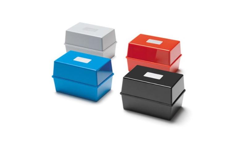 "Deflecto 8x5"" Plastic Card Index Boxes, 4 Asstd Colours"