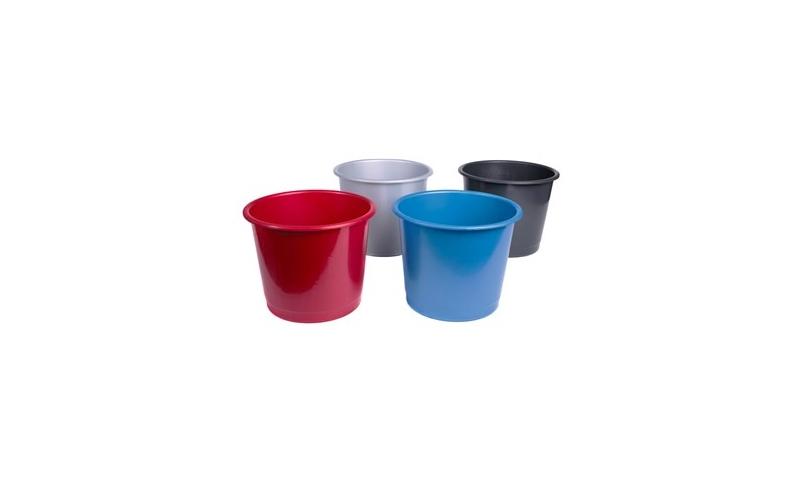 Deflecto Large 14 Litre Plastic Office Waste Basket, 4 Asstd