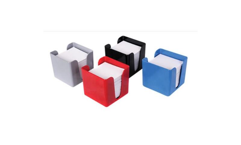 Deflecto Plastic Filled Desk Noteblock 90x90mm, 4 Asstd