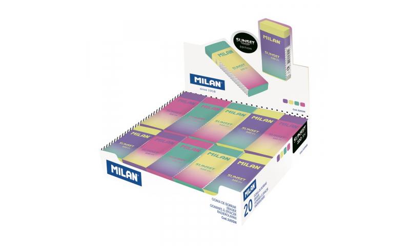 Milan Nata Sunset Large Wrapped Pencil Eraser, 4 Asstd, Box 20 (New Design)