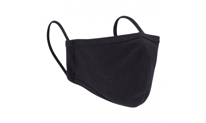 Black 2ply Cotton/Polyester Re-usable Face Mask