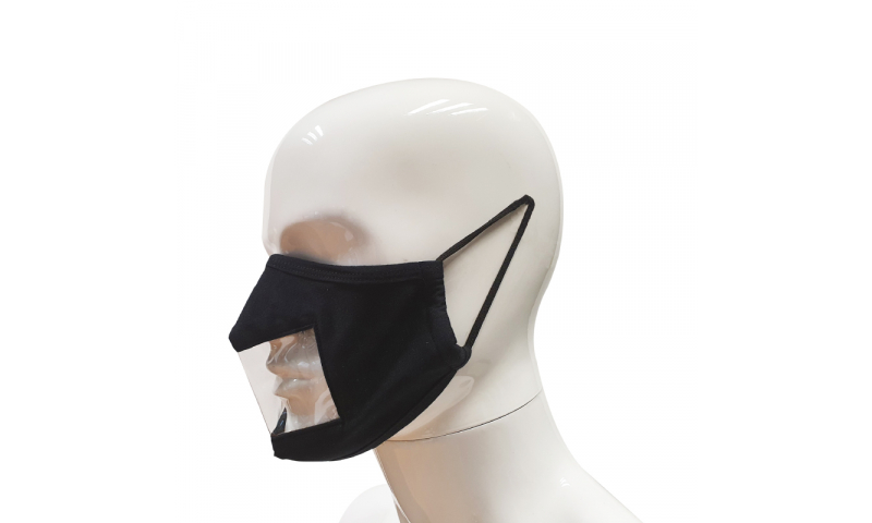 Cotton Face Mask with Viewing Pane, Black
