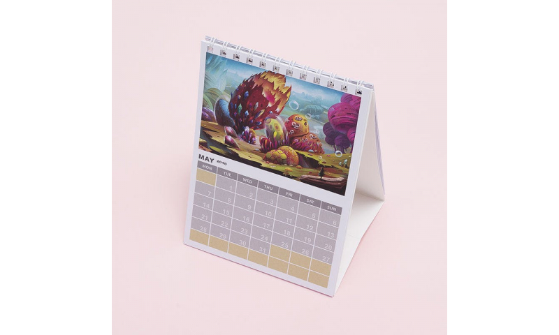 Desk Calendar Portrait Wiro Tent Style Bespoke Full Colour, A6  1 Months to View
