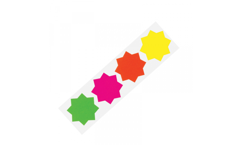 County Stationery Fluorescent Shaped - Stars 50pk 74mm.  (New Lower Price for 2021)
