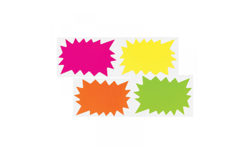 County Stationery Fluorescent Shaped - Flashes 40pk 66x105mm