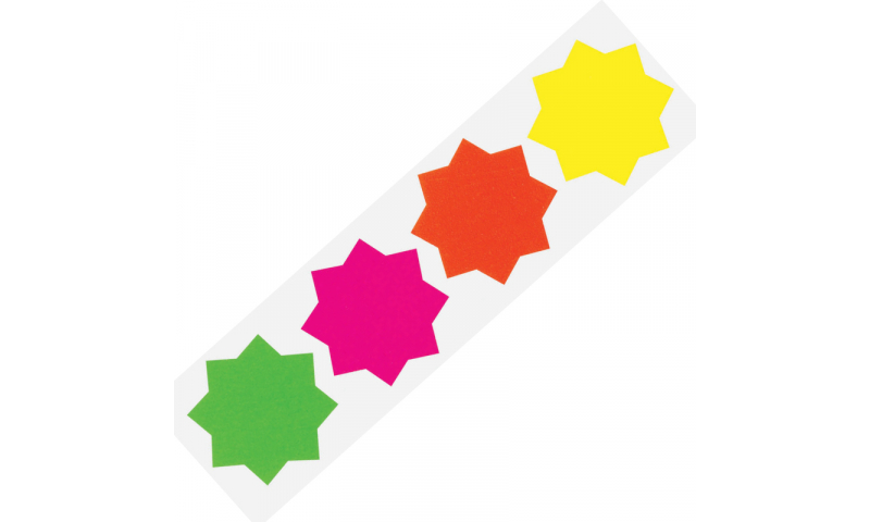 County Stationery Fluorescent Shaped - Stars 30pk 100mm  (New Lower Price for 2021)