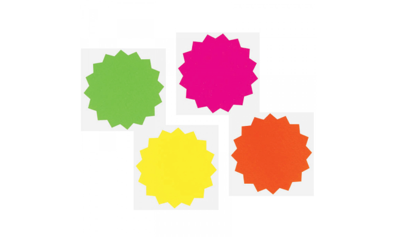 County Stationery Fluorescent Shaped - Stars 12pk 152mm  (New Lower Price for 2021)