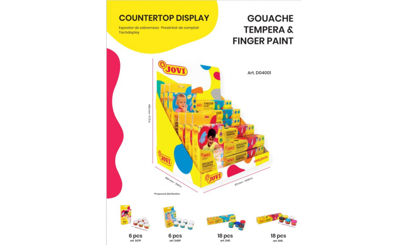 JOVI Tempera & Finger Paint Countertop Display Filled